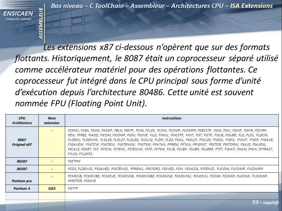ASSEMBLEUR 33 – copyleft Bas niveau – C ToolChain – Assembleur – Architectures CPU – ISA Extensions Les extensions x87 ci-dessous nopèrent que sur des formats flottants.