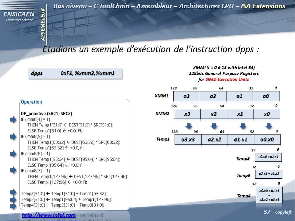 ASSEMBLEUR 37 – copyleft Bas niveau – C ToolChain – Assembleur – Architectures CPU – ISA Extensions Etudions un exemple dexécution de linstruction dpps : XMMi (i = 0 à 15 with Intel 64) 128bits General Purpose Registers for SIMD Execution Units 0 326496128 XMM1 0 326496128 XMM2 0 326496128 Temp1 0 32 Temp2 0 32 Temp3 0 32 Temp4 http://www.intel.com