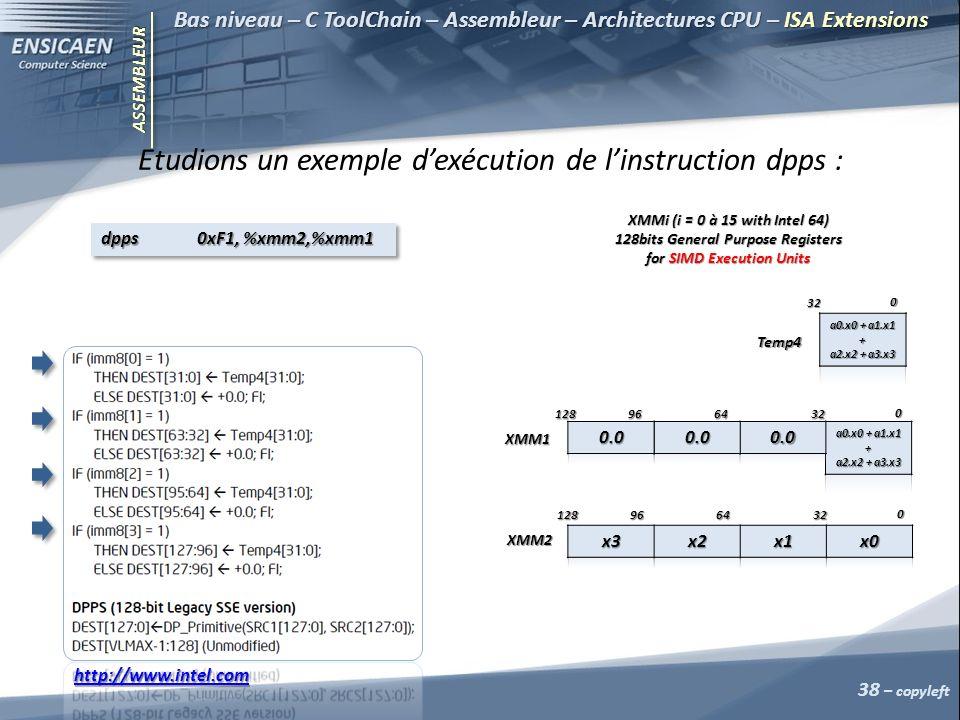 ASSEMBLEUR 38 – copyleft Bas niveau – C ToolChain – Assembleur – Architectures CPU – ISA Extensions Etudions un exemple dexécution de linstruction dpps : XMMi (i = 0 à 15 with Intel 64) 128bits General Purpose Registers for SIMD Execution Units 0 326496128 XMM1 0 326496128 XMM2 0 32 Temp4 http://www.intel.com