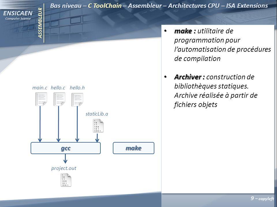 ASSEMBLEUR Bas niveau – C ToolChain – Assembleur – Architectures CPU – ISA Extensions 10 – copyleft Preprocessor Assembler Parser Compiler libFunct1.c libHeader.h libFunct1.i libFunct1.s libFunct1.o Linker staticLib.a Preprocessor Assembler Parser Compiler libFunct2.c libFunct2.i libFunct2.s libFunct2.o Optimiser Optimiser gcc Archiver