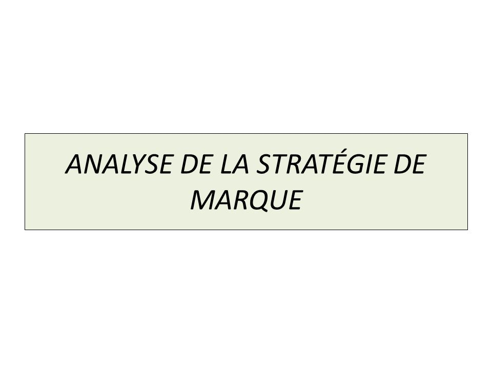 ANALYSE DE LA STRATÉGIE DE MARQUE