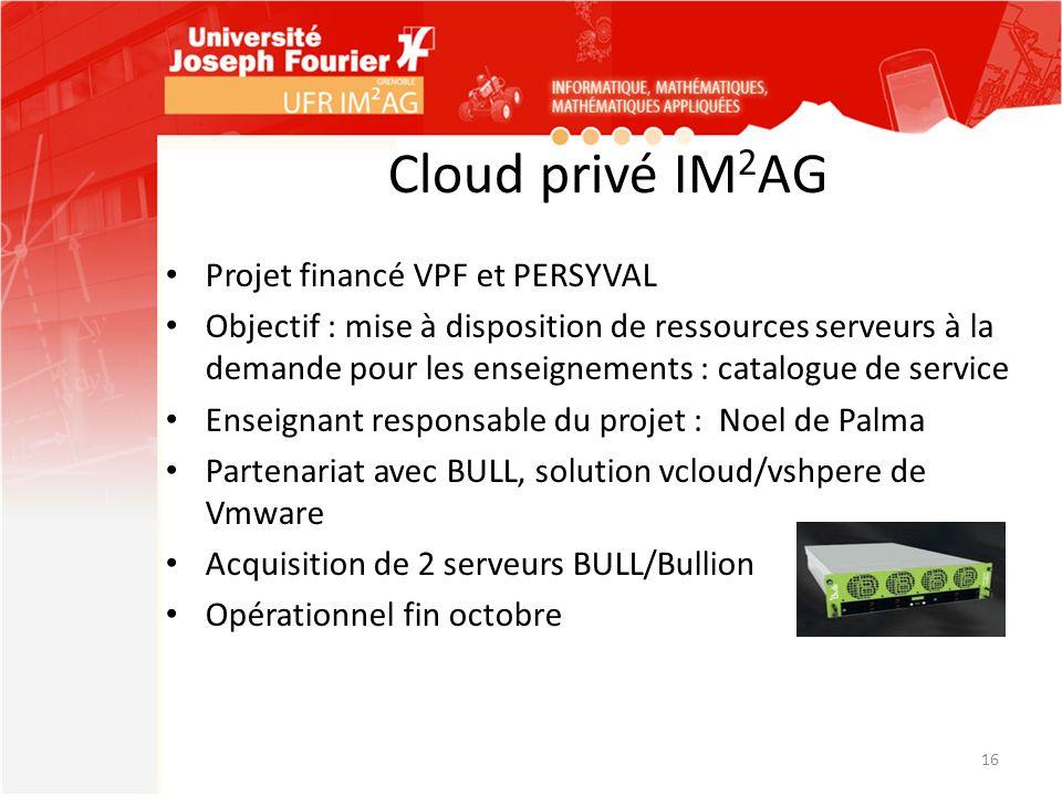 Cloud privé IM 2 AG Projet financé VPF et PERSYVAL Objectif : mise à disposition de ressources serveurs à la demande pour les enseignements : catalogu