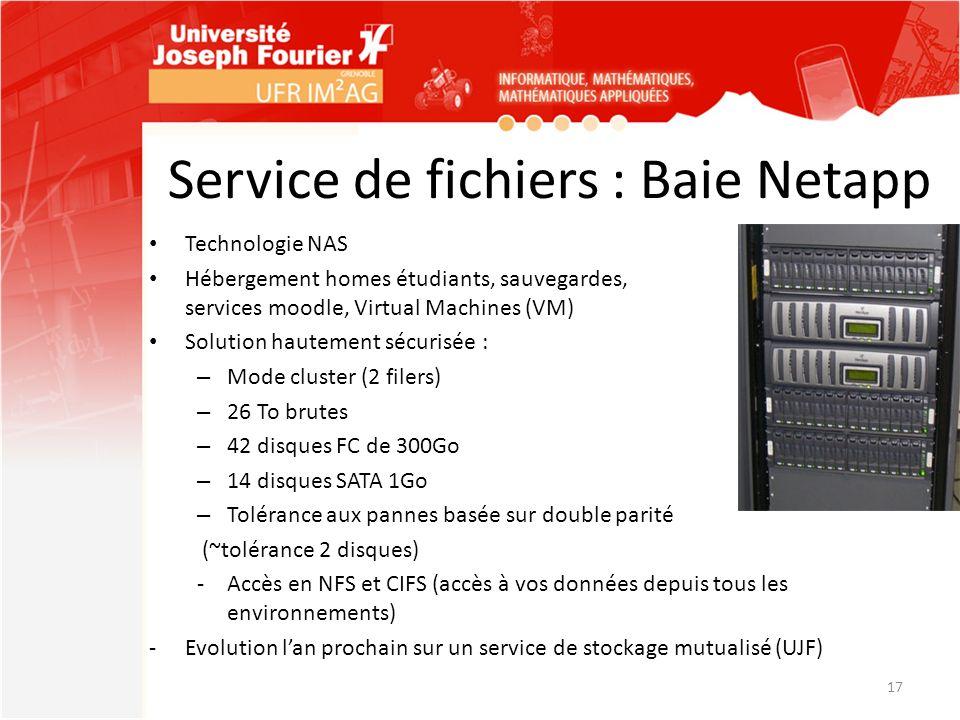 Service de fichiers : Baie Netapp Technologie NAS Hébergement homes étudiants, sauvegardes, services moodle, Virtual Machines (VM) Solution hautement
