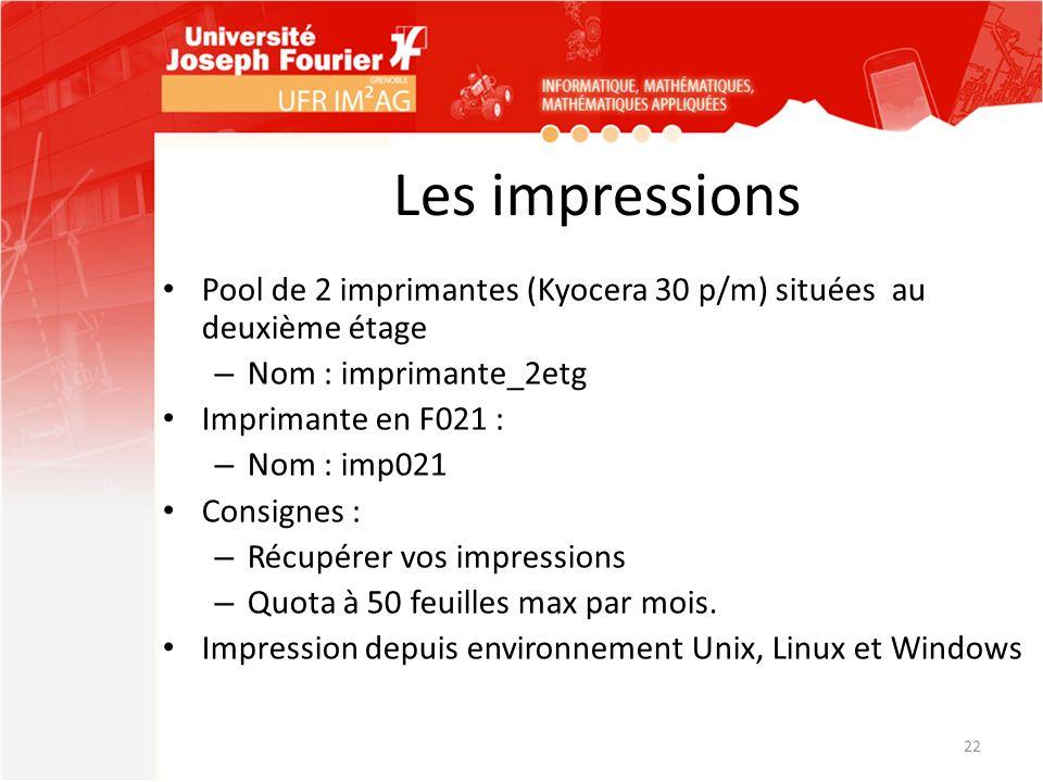 Les impressions Pool de 2 imprimantes (Kyocera 30 p/m) situées au deuxième étage – Nom : imprimante_2etg Imprimante en F021 : – Nom : imp021 Consignes