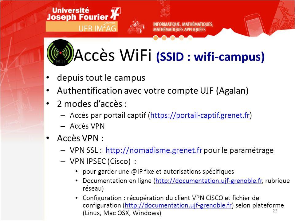 Accès WiFi (SSID : wifi-campus) depuis tout le campus Authentification avec votre compte UJF (Agalan) 2 modes daccès : – Accès par portail captif (htt