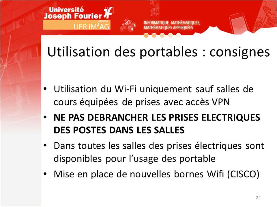 Utilisation des portables : consignes Utilisation du Wi-Fi uniquement sauf salles de cours équipées de prises avec accès VPN NE PAS DEBRANCHER LES PRI