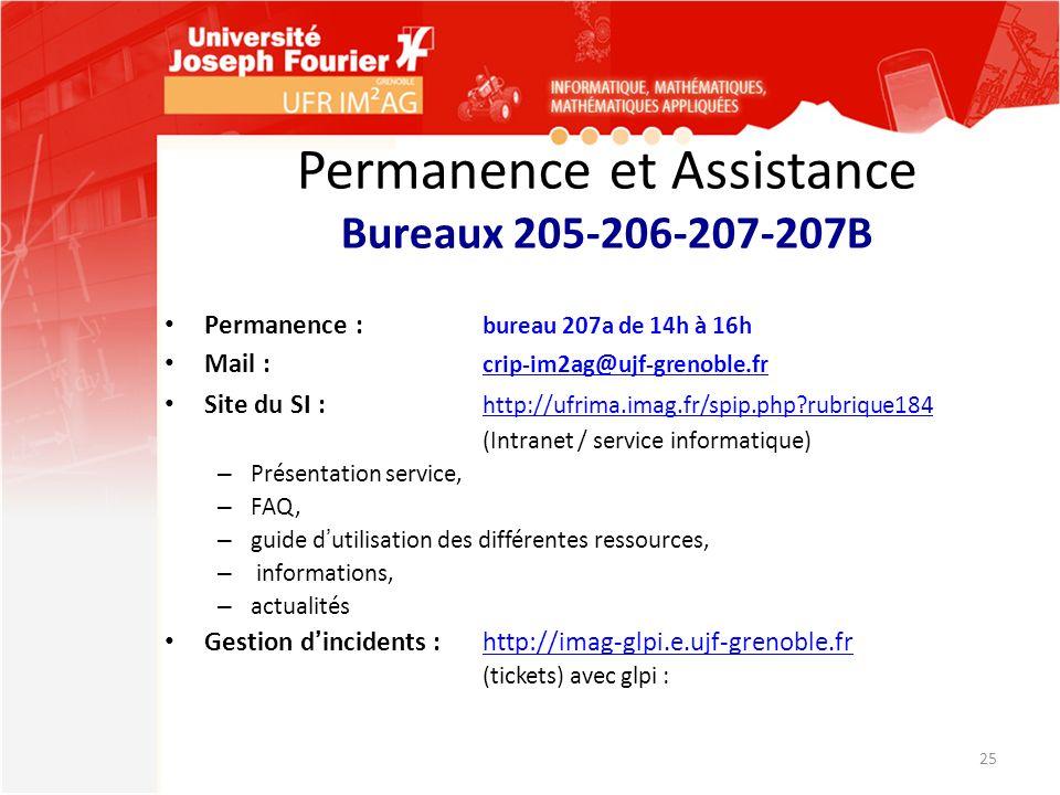 Permanence et Assistance Bureaux 205-206-207-207B Permanence : bureau 207a de 14h à 16h Mail : crip-im2ag@ujf-grenoble.fr crip-im2ag@ujf-grenoble.fr S