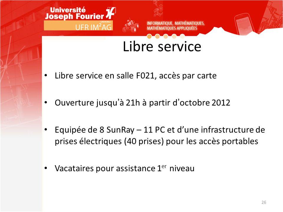 Libre service Libre service en salle F021, accès par carte Ouverture jusquà 21h à partir doctobre 2012 Equipée de 8 SunRay – 11 PC et dune infrastruct