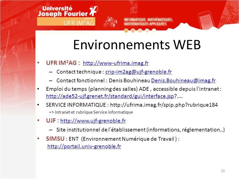 Environnements WEB UFR IM 2 AG : http://www-ufrima.imag.fr http://www-ufrima.imag.fr – Contact technique : crip-im2ag@ujf-grenoble.frcrip-im2ag@ujf-gr