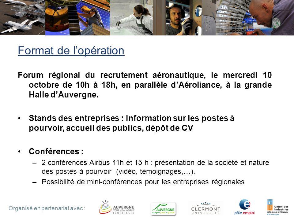 4 Organisé en partenariat avec : Format de lopération Forum régional du recrutement aéronautique, le mercredi 10 octobre de 10h à 18h, en parallèle dAéroliance, à la grande Halle dAuvergne.