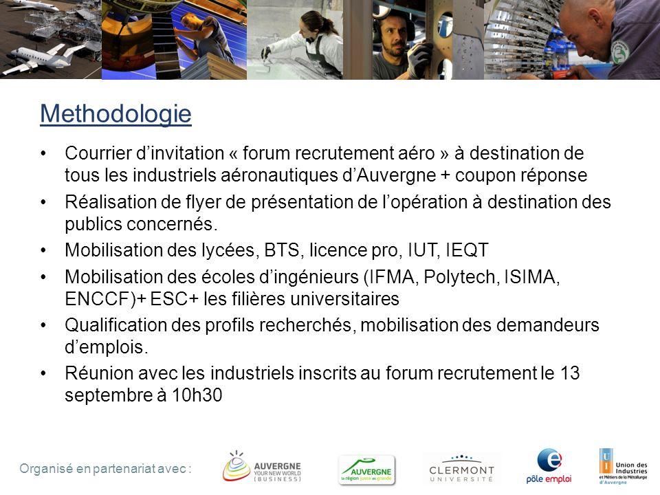 7 Organisé en partenariat avec : Methodologie Courrier dinvitation « forum recrutement aéro » à destination de tous les industriels aéronautiques dAuv