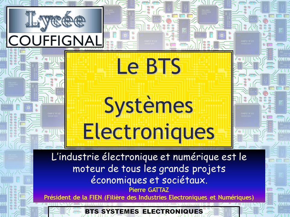 BTS SYSTEMES ELECTRONIQUES Le BTS Systèmes Electroniques Lindustrie électronique et numérique est le moteur de tous les grands projets économiques et sociétaux.