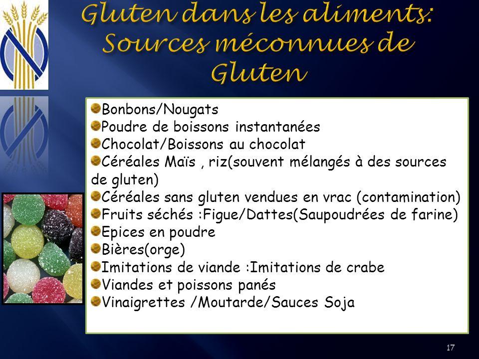Bonbons/Nougats Poudre de boissons instantanées Chocolat/Boissons au chocolat Céréales Maïs, riz(souvent mélangés à des sources de gluten) Céréales sa