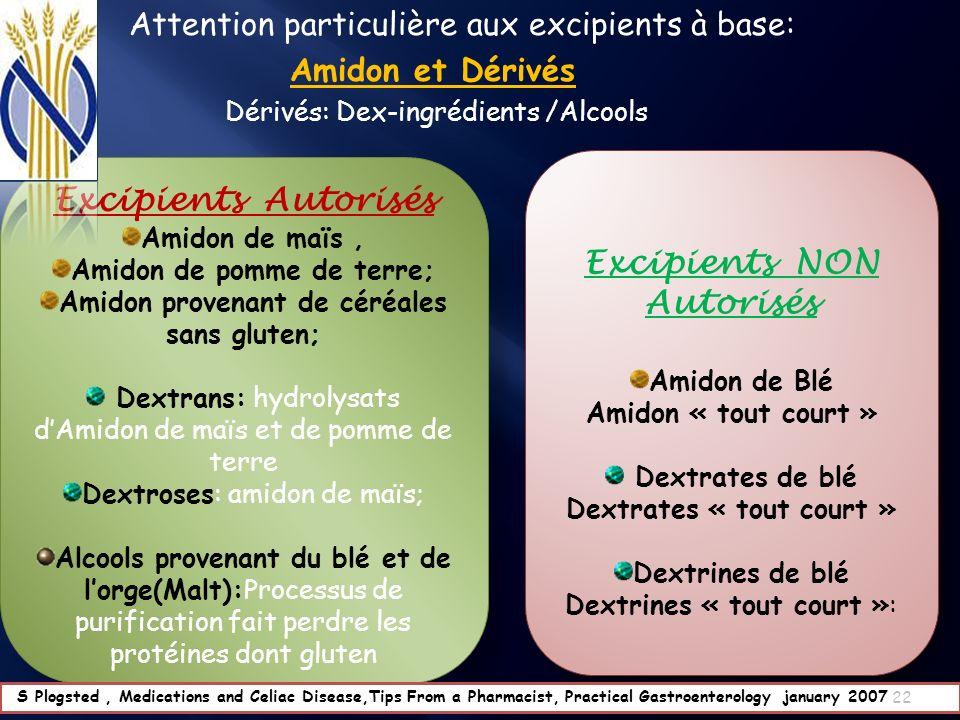 Attention particulière aux excipients à base: Amidon et Dérivés Dérivés: Dex-ingrédients /Alcools Excipients Autorisés Amidon de maïs, Amidon de pomme