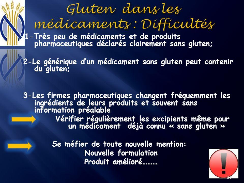 1-Très peu de médicaments et de produits pharmaceutiques déclarés clairement sans gluten; 2-Le générique dun médicament sans gluten peut contenir du g