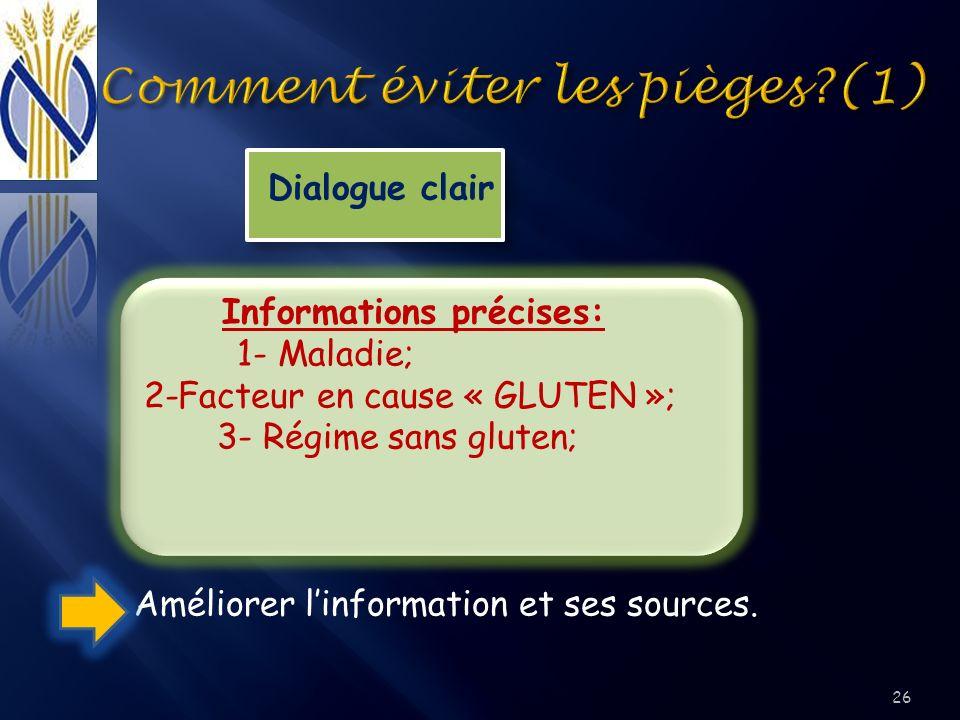 Dialogue clair Informations précises: 1- Maladie; 2-Facteur en cause « GLUTEN »; 3- Régime sans gluten; Améliorer linformation et ses sources. 26
