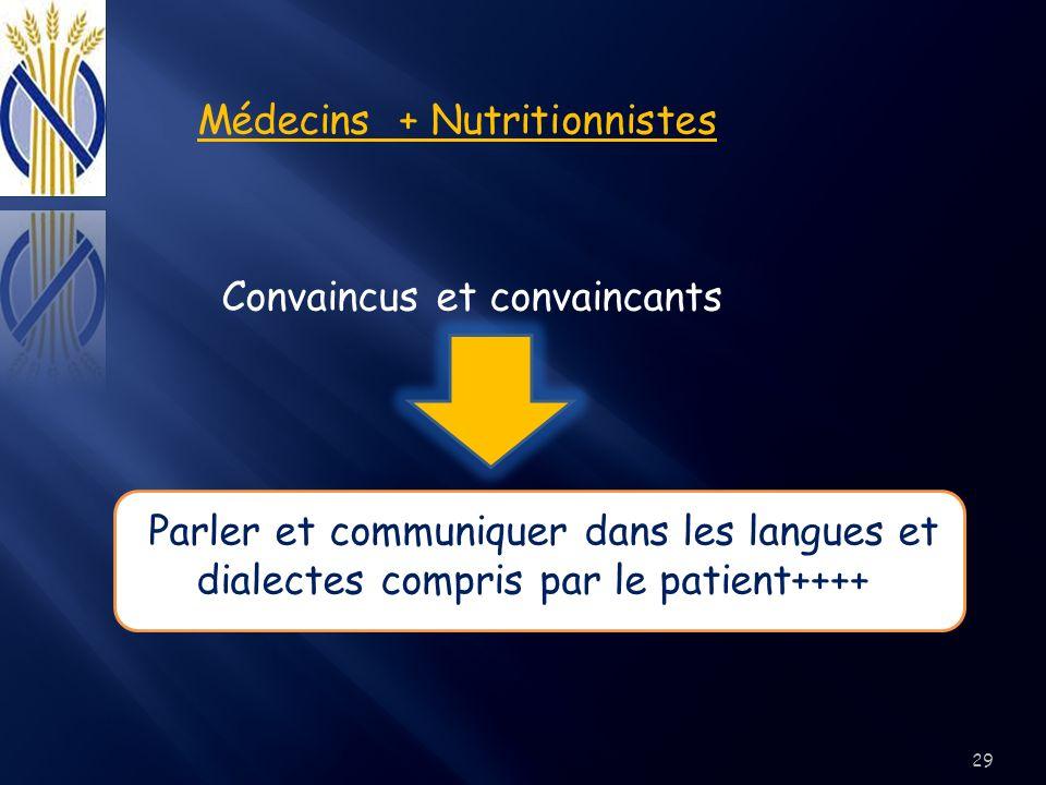 Médecins + Nutritionnistes Convaincus et convaincants Parler et communiquer dans les langues et dialectes compris par le patient++++ 29