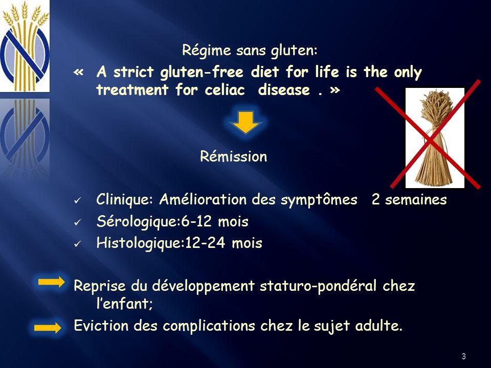 Lapport quotidien en gluten dans lalimentation adulte : ~ 15 g ; Gluten Gliadine ~52 Fragments toxiques 200g 15g7.5g 14