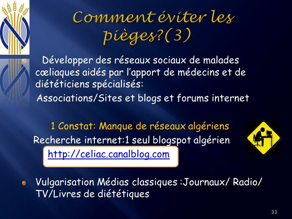 Développer des réseaux sociaux de malades cœliaques aidés par lapport de médecins et de diététiciens spécialisés: Associations/Sites et blogs et forum