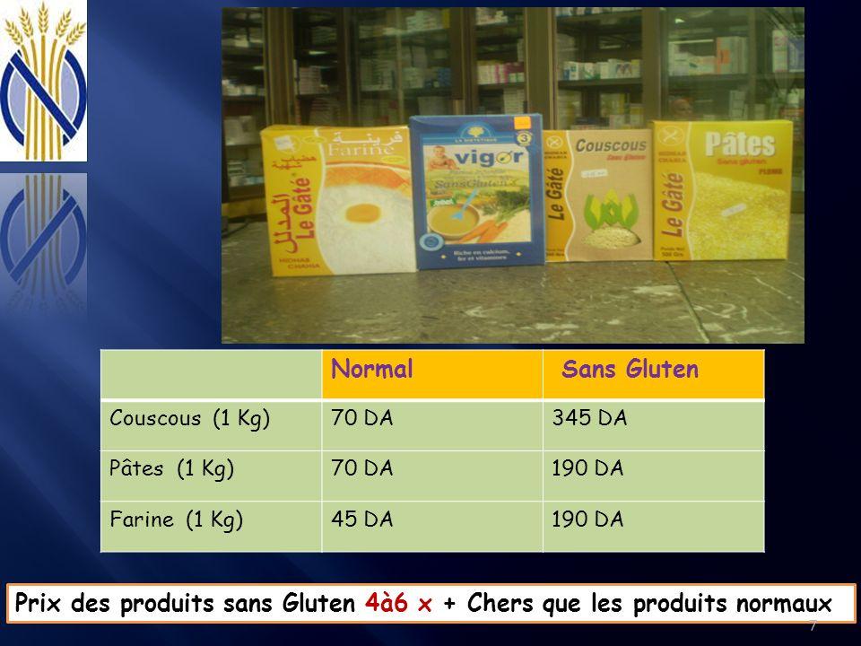 Normal Sans Gluten Couscous (1 Kg)70 DA345 DA Pâtes (1 Kg)70 DA190 DA Farine (1 Kg)45 DA190 DA Prix des produits sans Gluten 4à6 x + Chers que les pro