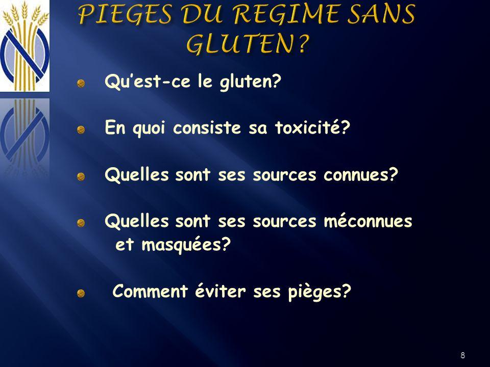 Quest-ce le gluten? En quoi consiste sa toxicité? Quelles sont ses sources connues? Quelles sont ses sources méconnues et masquées? Comment éviter ses