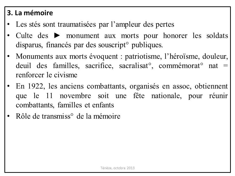 3. La mémoire Les stés sont traumatisées par lampleur des pertes Culte des monument aux morts pour honorer les soldats disparus, financés par des sous