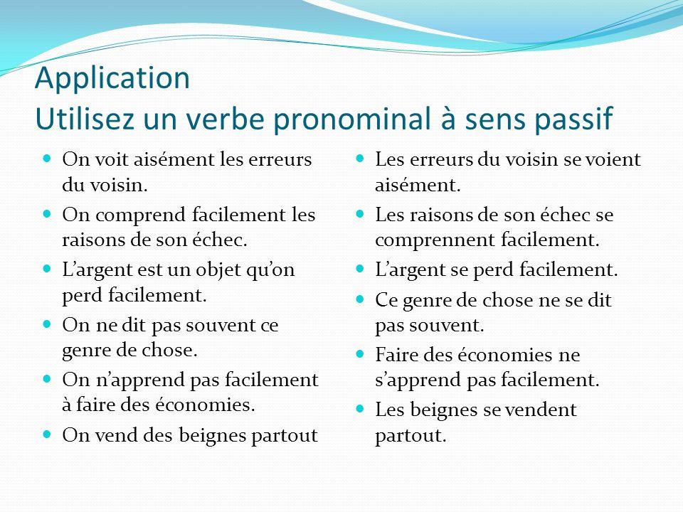 Application Utilisez un verbe pronominal à sens passif On voit aisément les erreurs du voisin. On comprend facilement les raisons de son échec. Largen