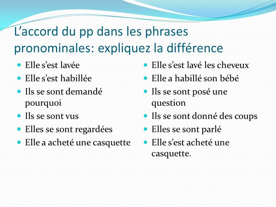 Laccord du pp avec les verbes pronominaux. Laccord du participe passé avec le complément dobjet qui précède lauxiliaire. La règle normale de laccord d