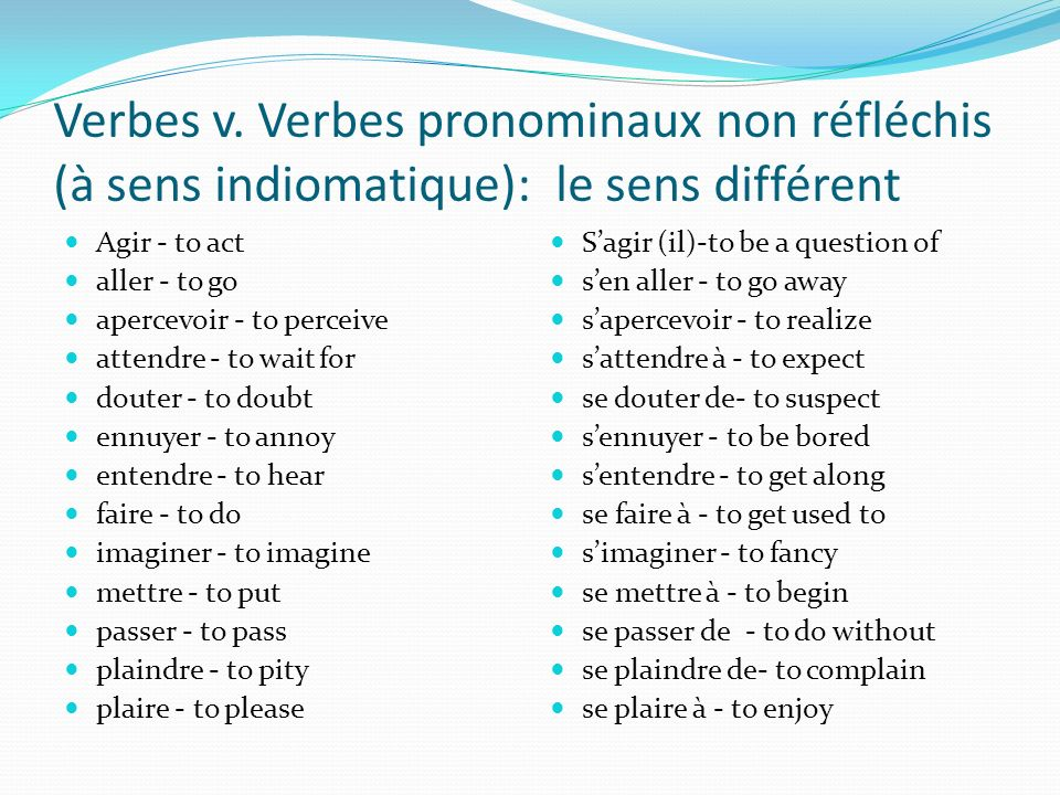 3e type – le verbe non réfléchi à sens idiomatique Idiomatique veut dire ce qui appartient à une langue Ces expressions ne se traduisent pas littérale
