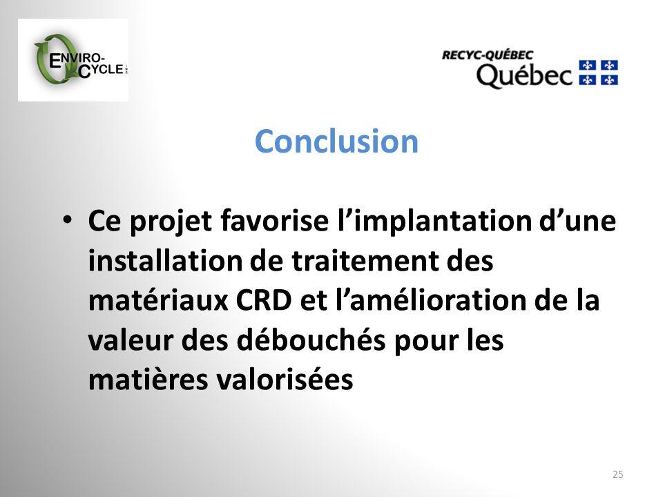 Conclusion 25 Ce projet favorise limplantation dune installation de traitement des matériaux CRD et lamélioration de la valeur des débouchés pour les