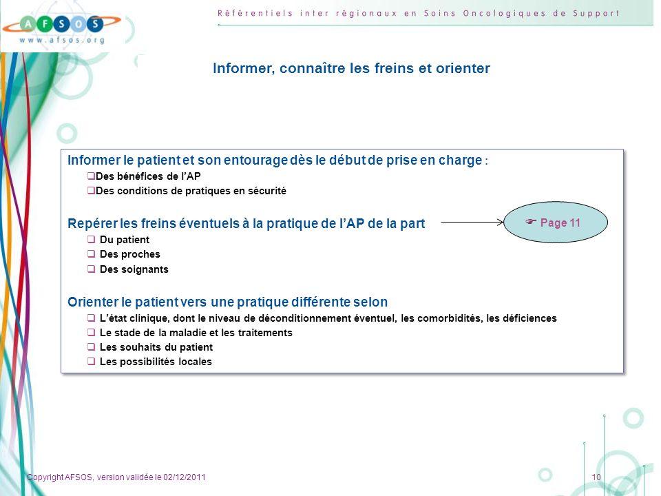 Copyright AFSOS, version validée le 02/12/2011 10 Informer, connaître les freins et orienter Informer le patient et son entourage dès le début de pris
