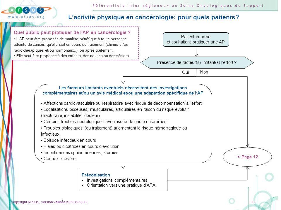 Copyright AFSOS, version validée le 02/12/2011 13 Lactivité physique en cancérologie: pour quels patients? Patient informé et souhaitant pratiquer une