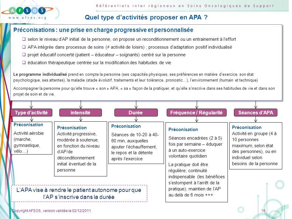 Copyright AFSOS, version validée le 02/12/2011 16 Préconisations : une prise en charge progressive et personnalisée selon le niveau dAP initial de la