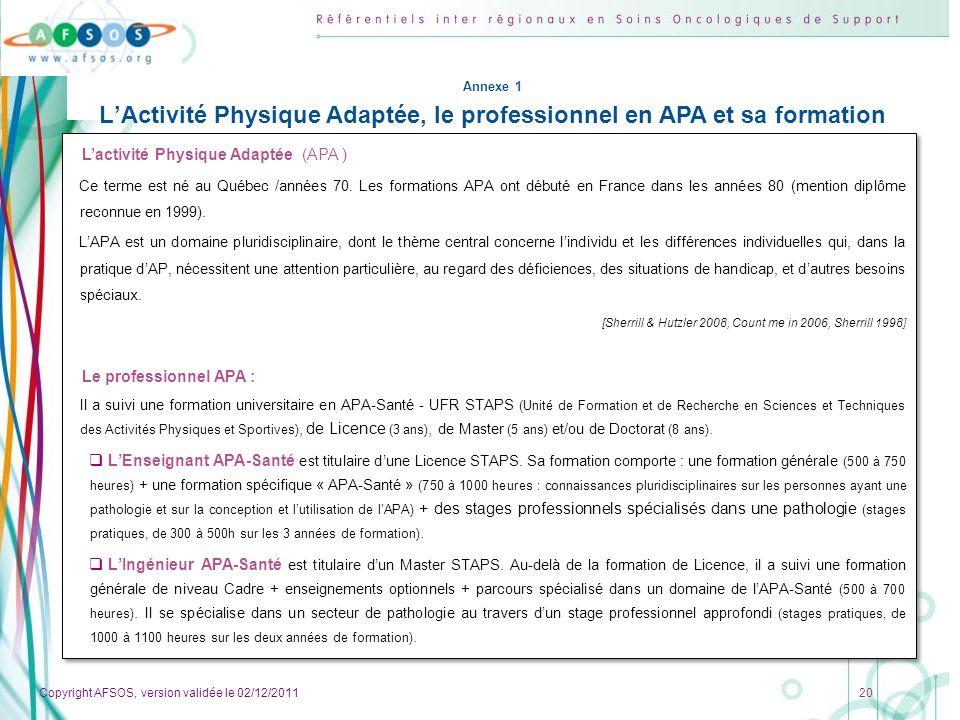 Copyright AFSOS, version validée le 02/12/2011 20 Lactivité Physique Adaptée (APA ) Ce terme est né au Québec /années 70. Les formations APA ont début