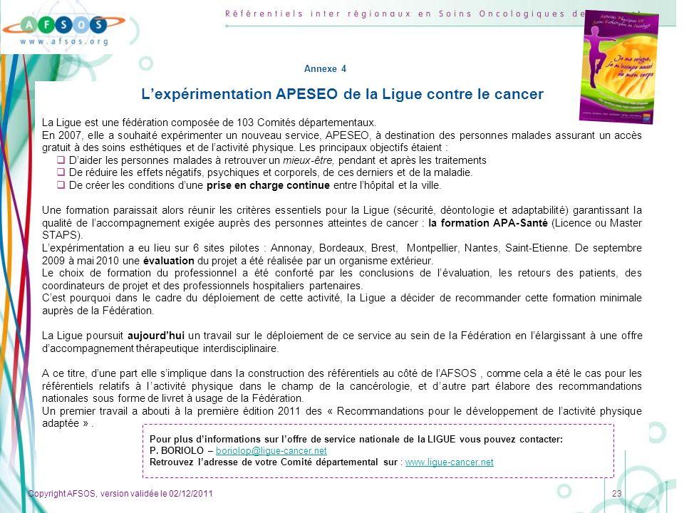 Copyright AFSOS, version validée le 02/12/2011 23 Lexpérimentation APESEO de la Ligue contre le cancer La Ligue est une fédération composée de 103 Com
