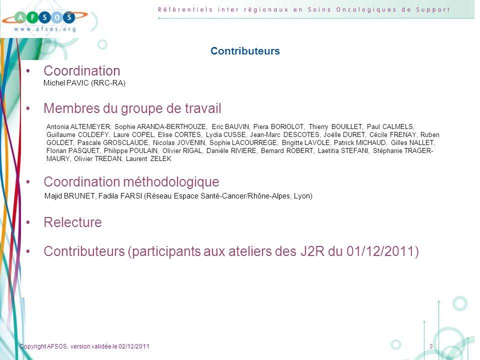 Copyright AFSOS, version validée le 02/12/2011 4 Rationnel de lactivité physique en cancérologie 1.