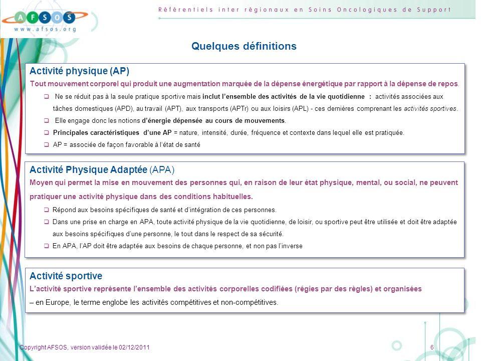 Copyright AFSOS, version validée le 02/12/2011 7 Inactivité physique et sédentarité Linactivité physique se définie comme le manque dAP dintensité au moins modérée.