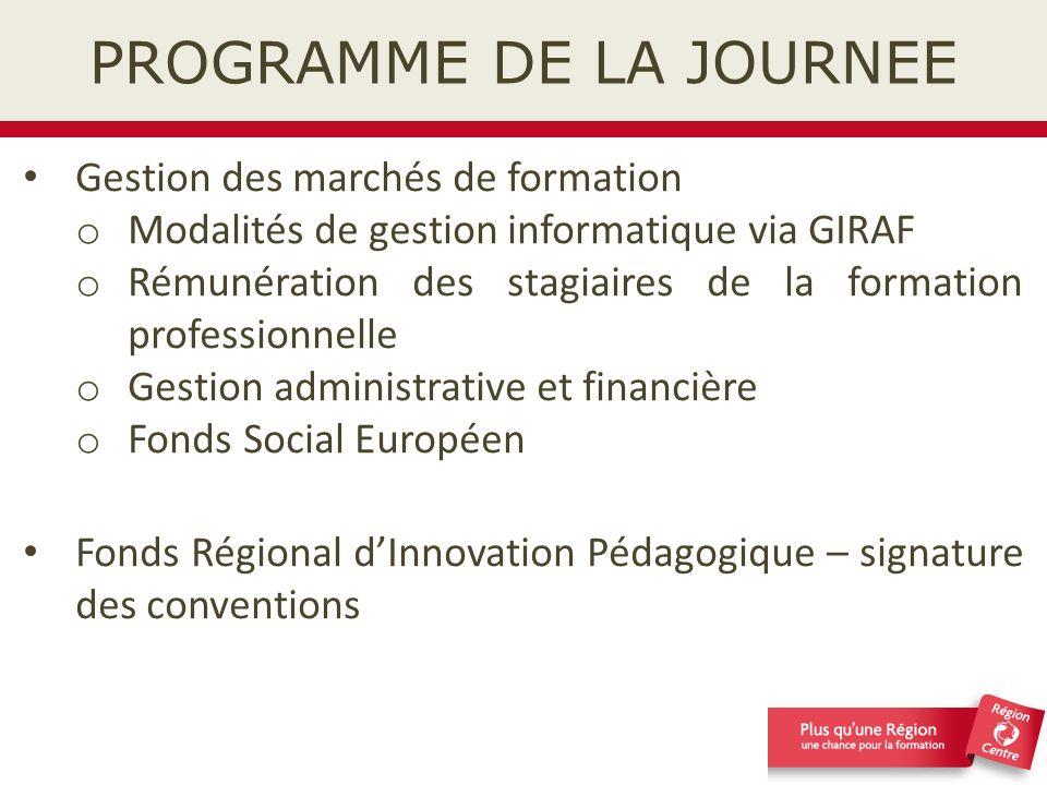 Présentation du schéma fonctionnel La gestion des marchés de formation est composée de 3 phases : 1)Phase 1 : du lancement de la consultation jusquà lattribution des marchés de formation 2)Phase 2 : La gestion informatique des marchés de formation sur GIRAF 3)Phase 3 : Lévaluation, les statistiques, les analyses