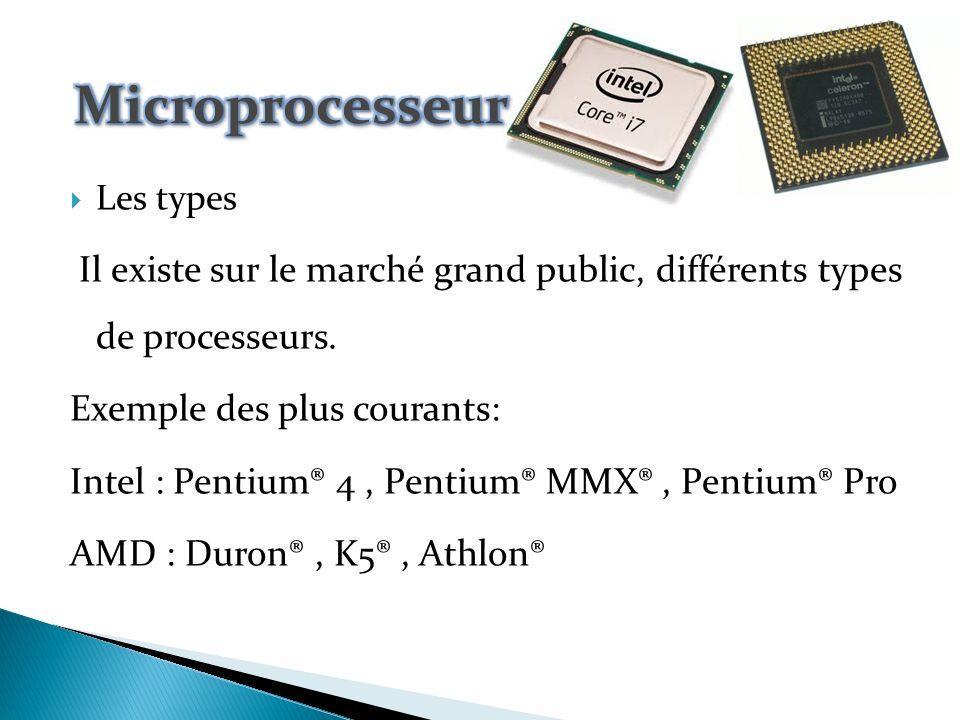 Le microprocesseur :(CPU = Central Processing Unit, Unité Centrale de Traitement) c est l élément principal de l ordinateur.