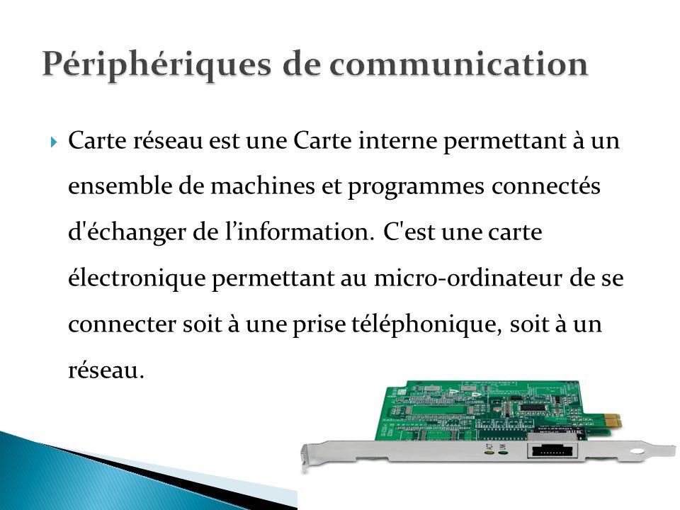 La disquette est un périphérique de stockage des informations (sa capacité est 1,44 Mo)