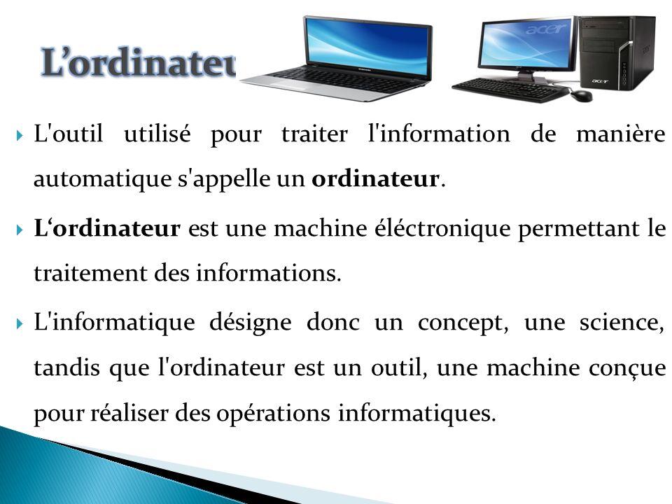 Le mot informatique a été proposé par Philippe Dreyfus en 1962 ; c est un mot-valise, formé d information et d automatique.