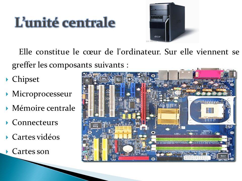 Lunité centrale Cest le lieu de traitement de linformation ; lintérieur est constitué de pièces électroniques disposées sur les supports ou cartes.