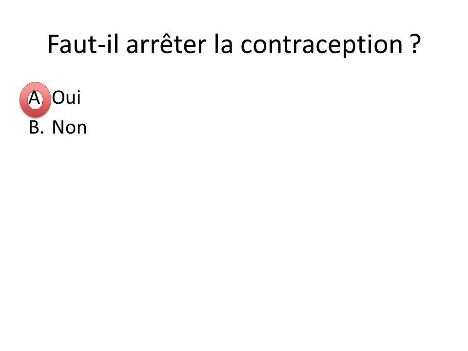 Faut-il arrêter la contraception ? A.Oui B.Non