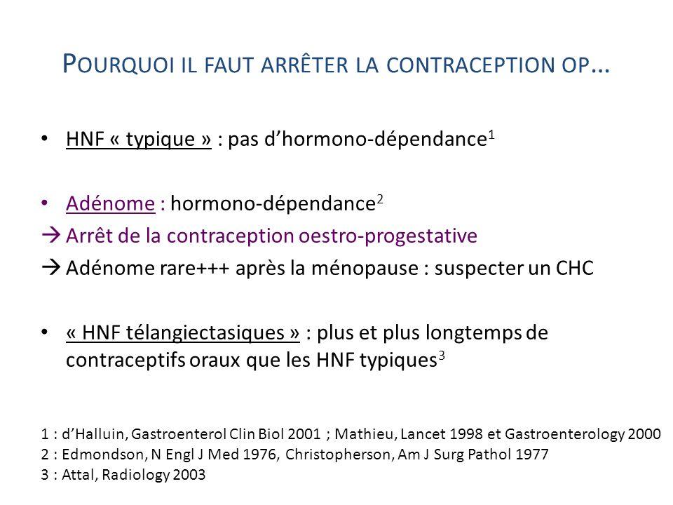 P OURQUOI IL FAUT ARRÊTER LA CONTRACEPTION OP … HNF « typique » : pas dhormono-dépendance 1 Adénome : hormono-dépendance 2 Arrêt de la contraception o
