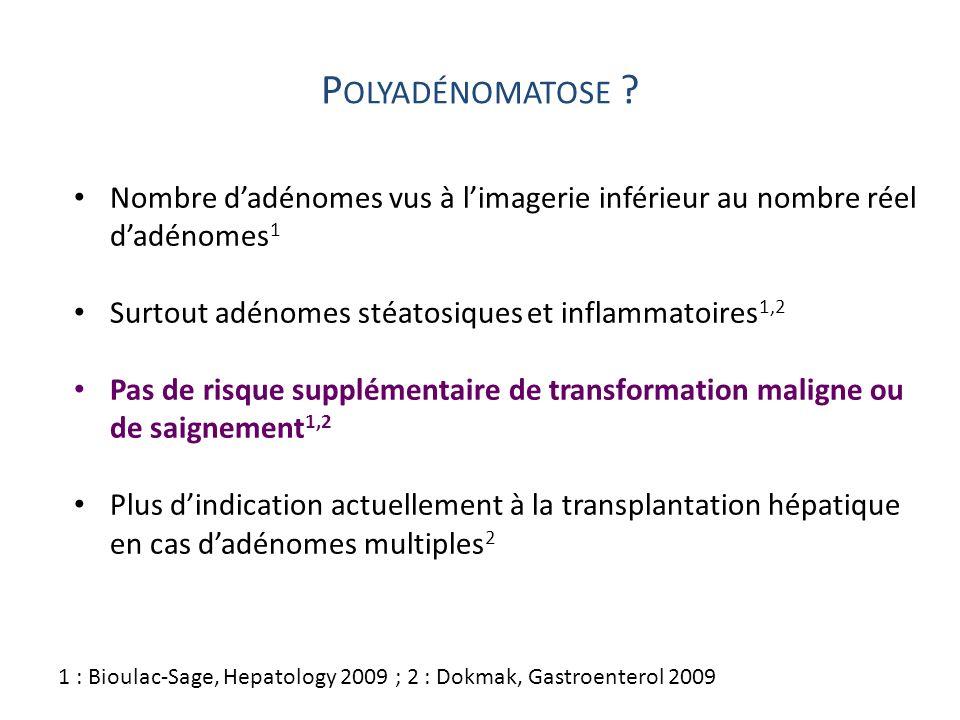P OLYADÉNOMATOSE ? Nombre dadénomes vus à limagerie inférieur au nombre réel dadénomes 1 Surtout adénomes stéatosiques et inflammatoires 1,2 Pas de ri