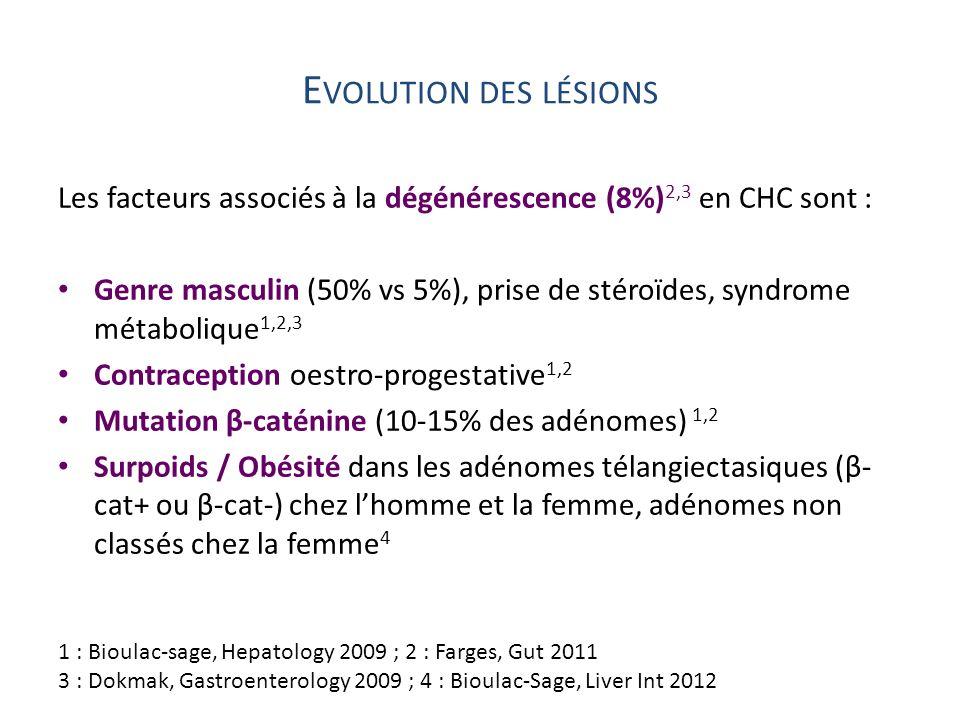 E VOLUTION DES LÉSIONS Les facteurs associés à la dégénérescence (8%) 2,3 en CHC sont : Genre masculin (50% vs 5%), prise de stéroïdes, syndrome métab