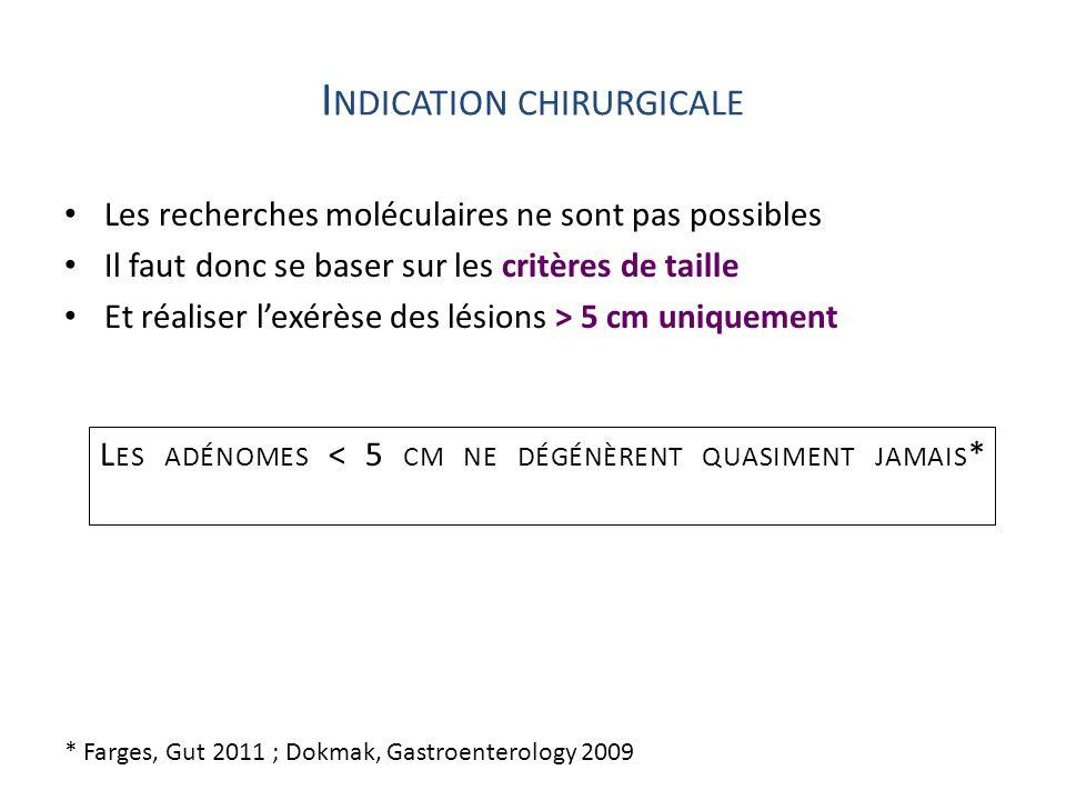 I NDICATION CHIRURGICALE Les recherches moléculaires ne sont pas possibles Il faut donc se baser sur les critères de taille Et réaliser lexérèse des l
