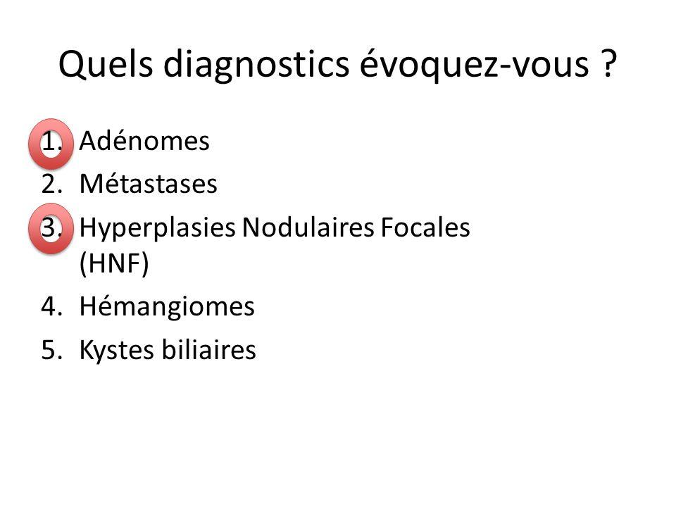 Quels diagnostics évoquez-vous ? 1.Adénomes 2.Métastases 3.Hyperplasies Nodulaires Focales (HNF) 4.Hémangiomes 5.Kystes biliaires