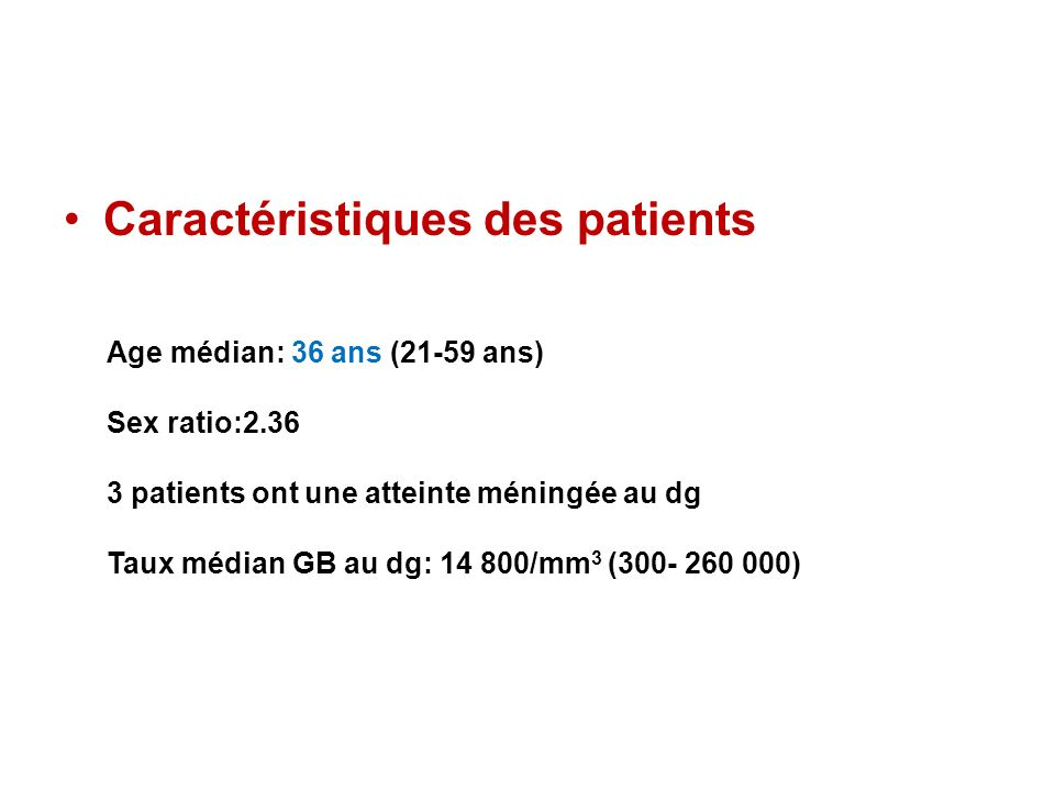 Caractéristiques des patients Age médian: 36 ans (21-59 ans) Sex ratio:2.36 3 patients ont une atteinte méningée au dg Taux médian GB au dg: 14 800/mm 3 (300- 260 000)