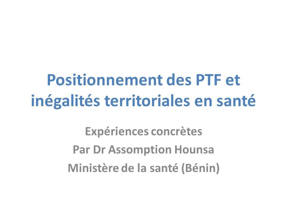 Positionnement des PTF et inégalités territoriales en santé Expériences concrètes Par Dr Assomption Hounsa Ministère de la santé (Bénin)